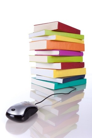 book stack with mouse