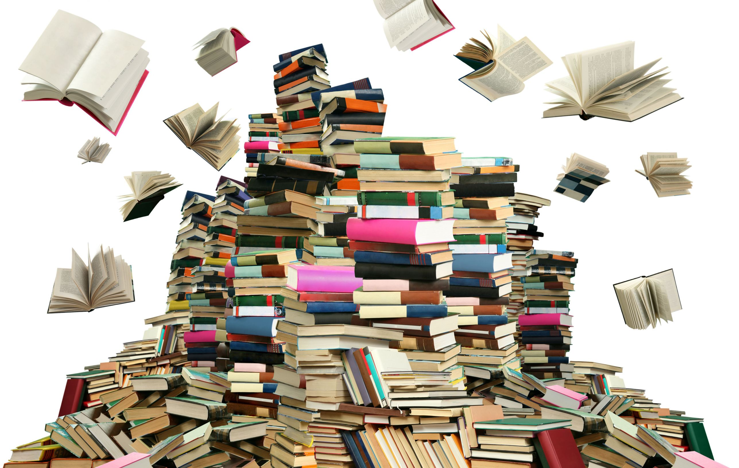 book stack with flying